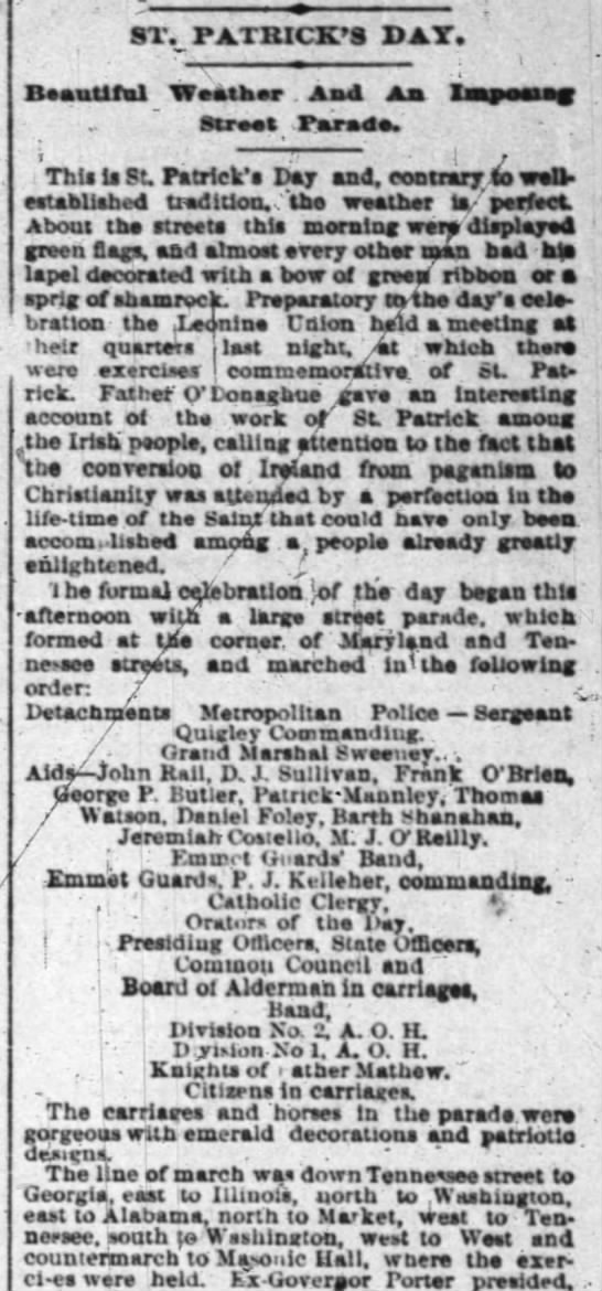 James Quigley srgt 17 march 1888 indy news