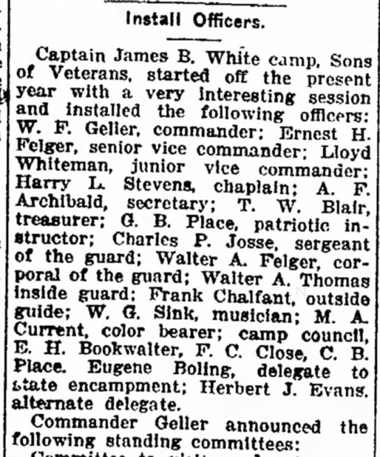 1917 Jan 16 Ft Wayne News Whiteman, Lloyd Vice Commander