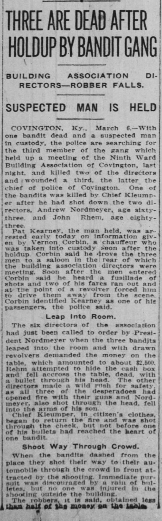 Andrew Nordmeyer killed by Bandit Gang in Covington, KY