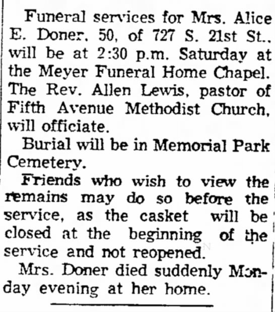 Funeral Notices - Council Bluffs Nonpareil - 21 Jun 1956, page 14