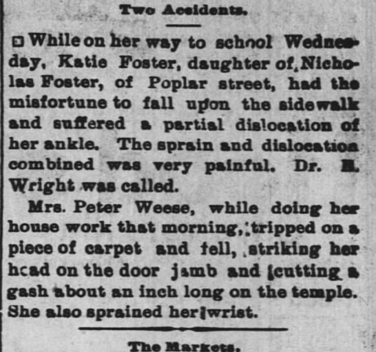 Kate Foster sprains ankle 3 dec 1896
