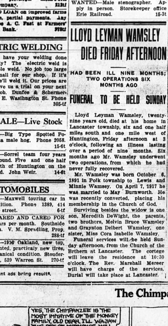 Lloyd Wamsley Obit 24 Jan 1920
