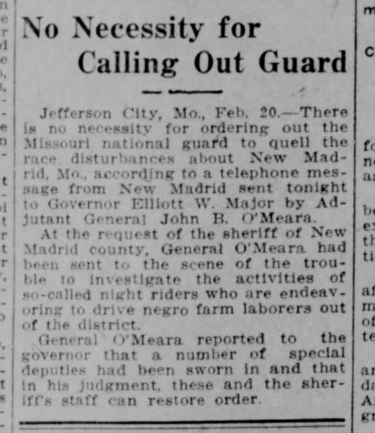 John B. O'Meara - No Necessity for Calling out guard. Waco Morning News (Waco, Texas) 21 Feb 1915