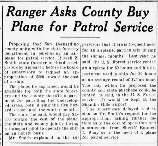 1937-8-24 Ranger Asks County Buy Plane for Patrol Service