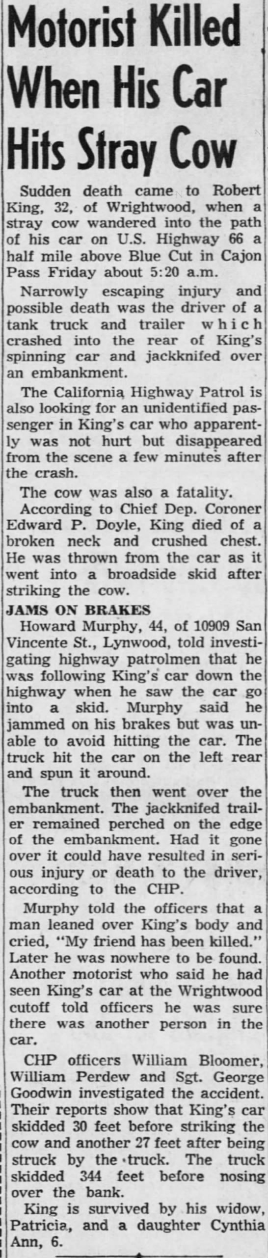 Howard Murphy, in car accident