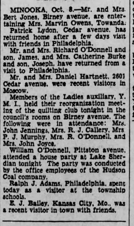 O'Donnell and Burke and Jennings ladies auxiliary