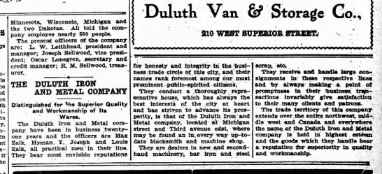 Duluth Iron And Metal May 8, 1909