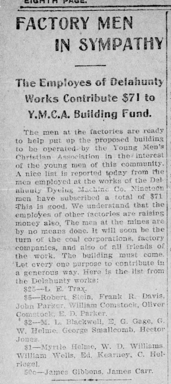 1903 YMCA cont. Delahunty Dyeing Works