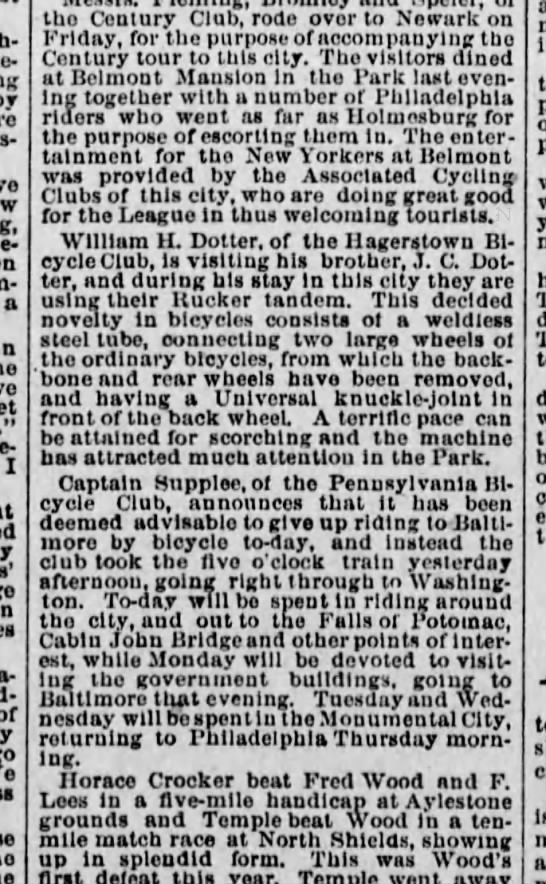 The Times of Phila. June 17, 1888, Cycling Notes, JC and Wm Henry