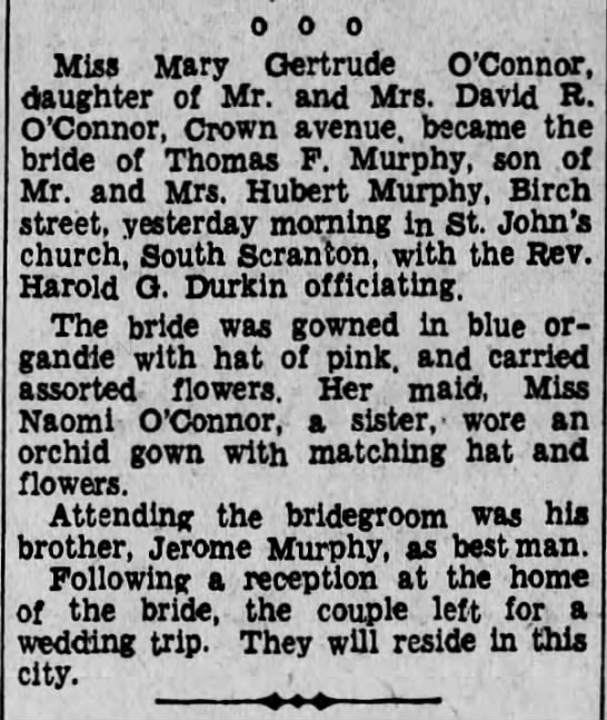 Thomas F Murphy Weds Gertrude O'Connor