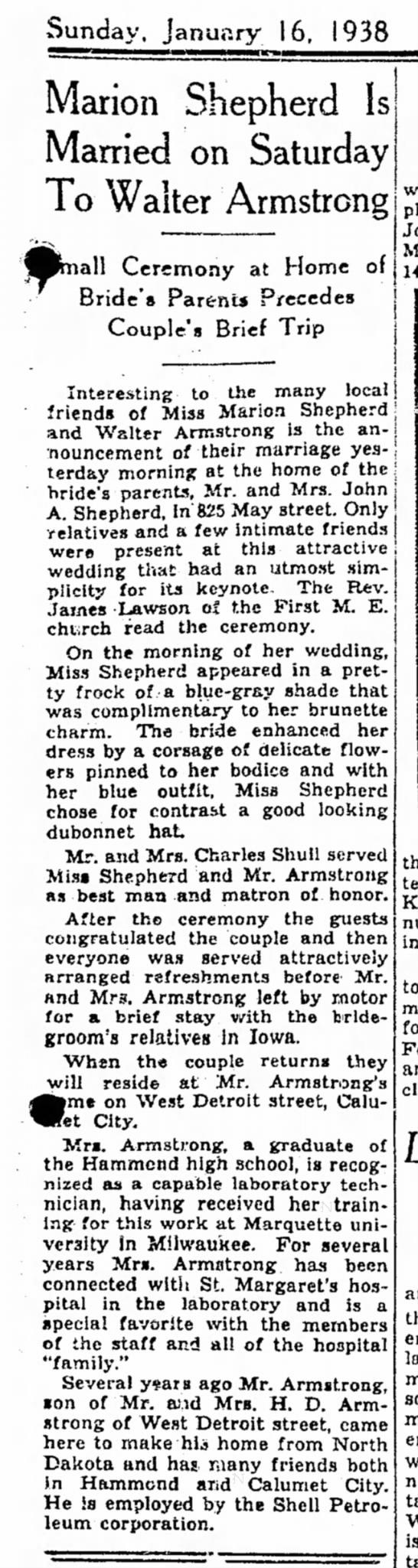 The Times, Hammond, Indiana: Sunday, 16 january, 1938