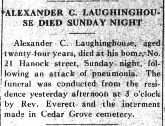 Alexander C. Laughinghouse Obituary 2 (1914)