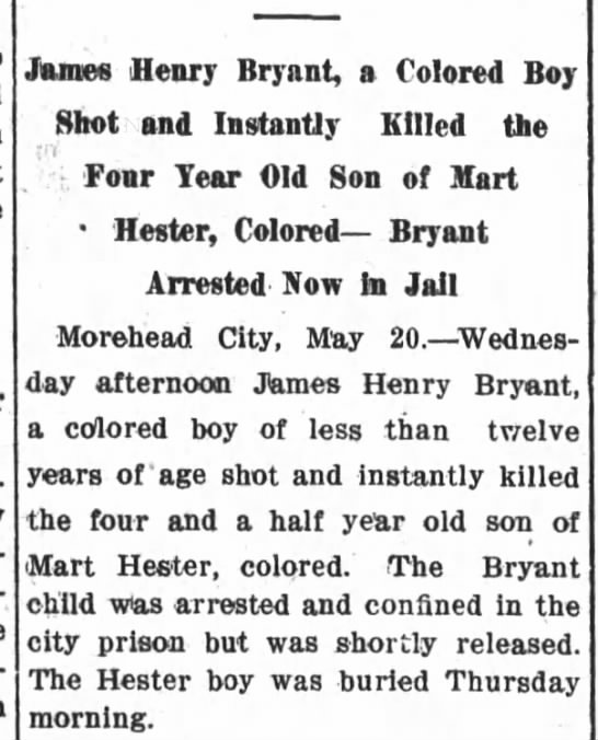 Article mentioning the death of Cecil Hester May 20, 1911 The New Bern Sun