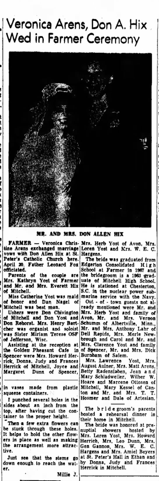 veronica arens wedding daily republican mitchell 2 may 1968 page 6