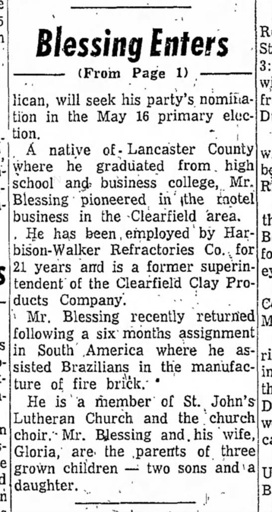 Harry Blessing enters-The Progress Clearfield PA 13 Apr 1961 p16 part 2