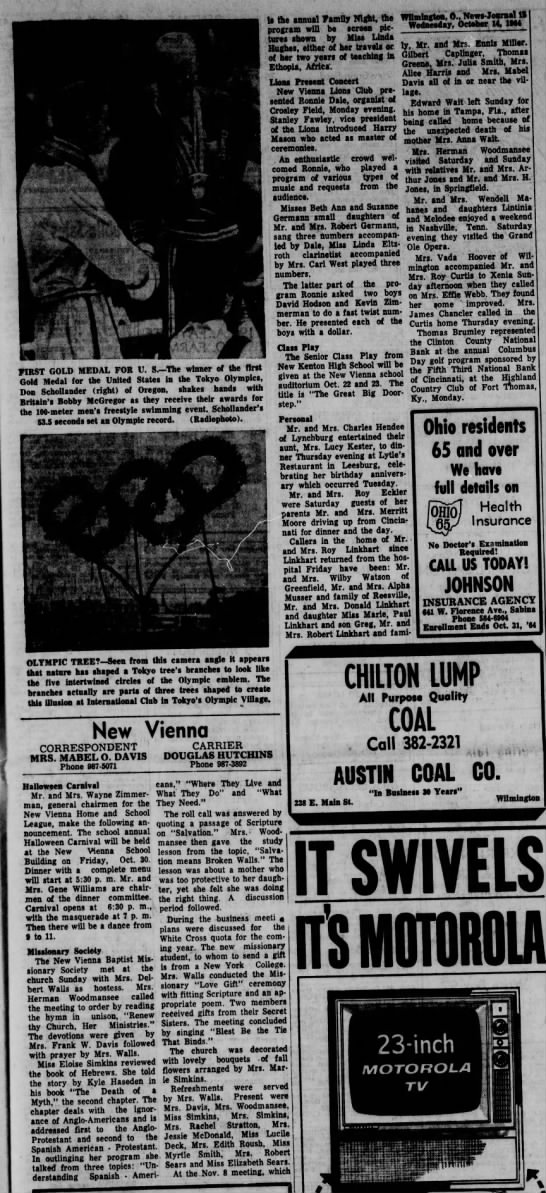 1964 New Vienna (Ohio) News -Oct.14