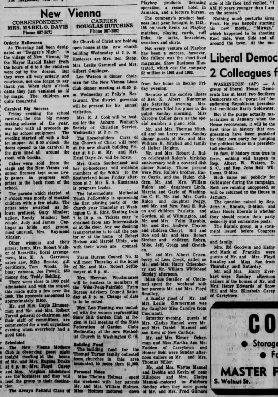 1964 New Vienna (Ohio) News -Nov.3