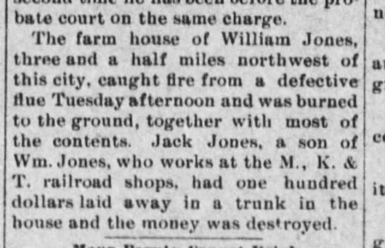 William Jones house fire?