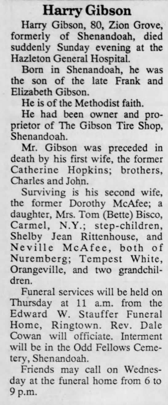 Dorothy Ulshafer-McAfee-Gibson's husband passes away