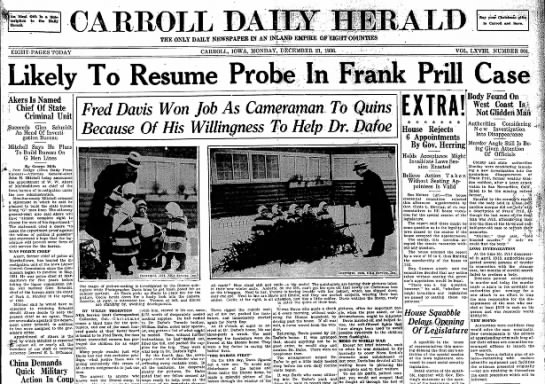 Frank Prill article in Carroll Daily Herald 21 Dec 1936 front page