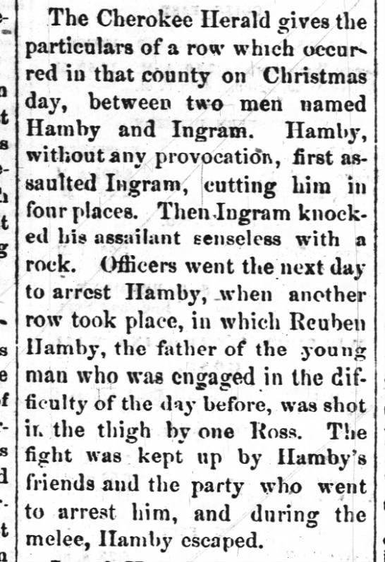 Reuben Hamby shot in the thigh