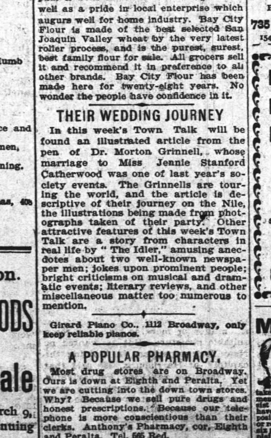 Oakland Tribune, 1897-March-06, page 5: Morton Grinnell writing about wedding trip with second wife