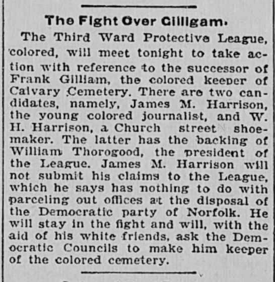 JM Harrison-fight over keeper of Calvary cemetery.