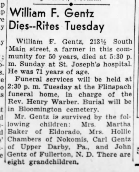 11 feb 1941 Obit William Gentz