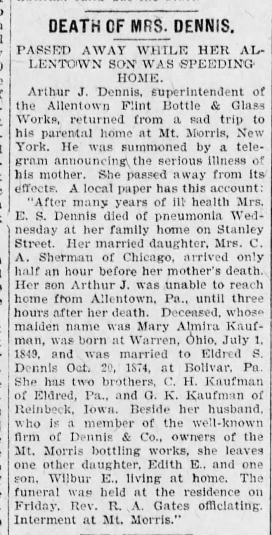 Arthur Dennis, obituary of his mother Mary K. Dennis