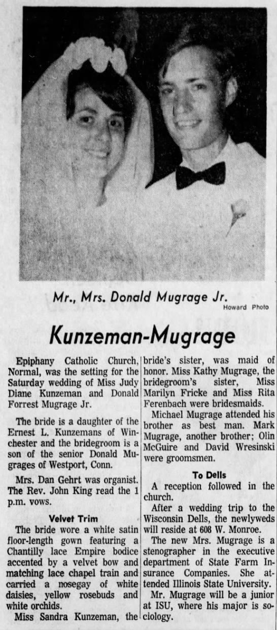 mugrage marriage to kunzeman  Is her name Diane or Judy