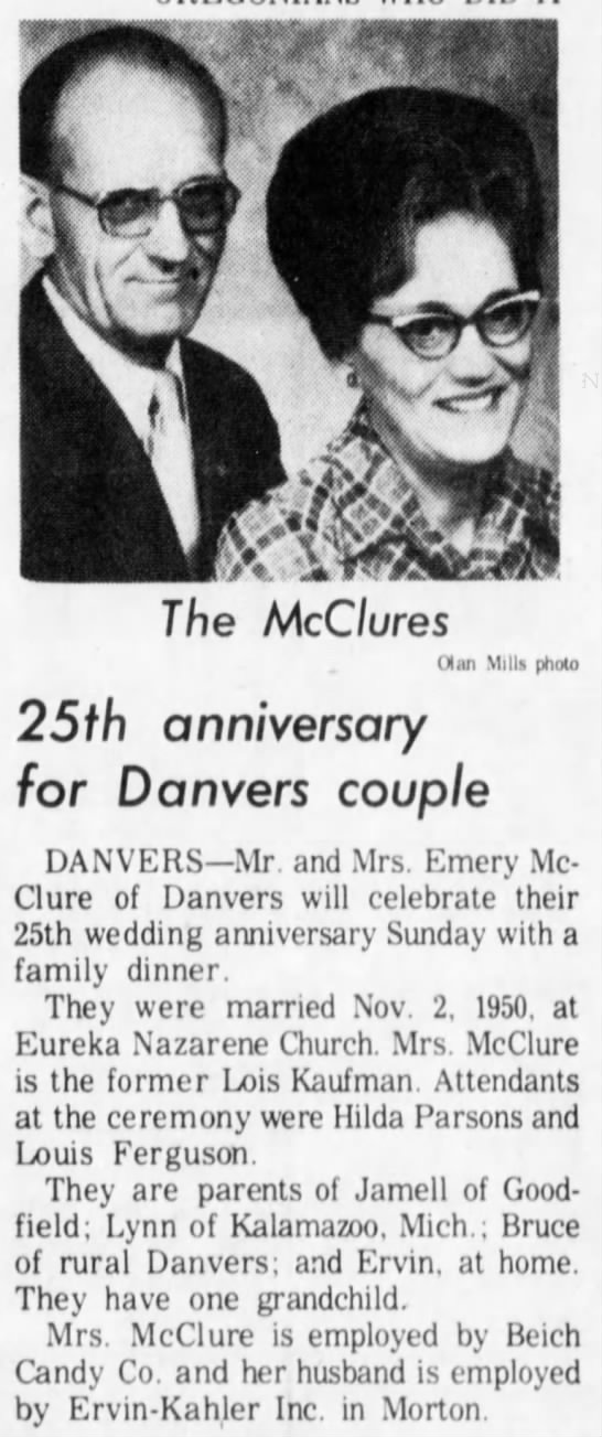 Emery and Lois McClure 25th wedding anniversary
