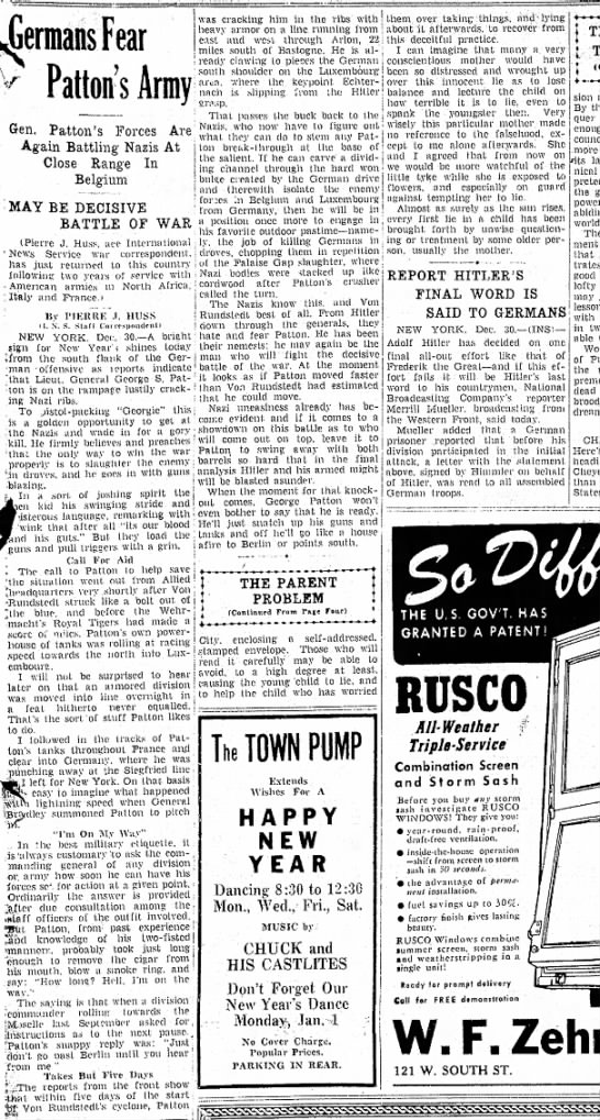 1944 Pierre J Huss Patton Army article New Castle News PA December 30