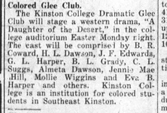 Kinston History   Kinston College Daily Free Press  April 15, 1922                1922