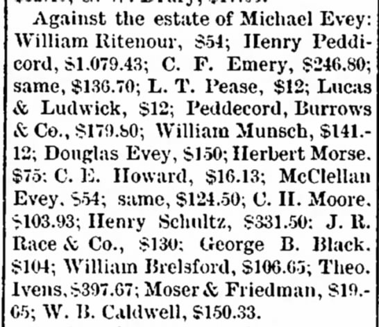 EVEY MICHAEL Estate, claims against, incl Henry Peddicord.