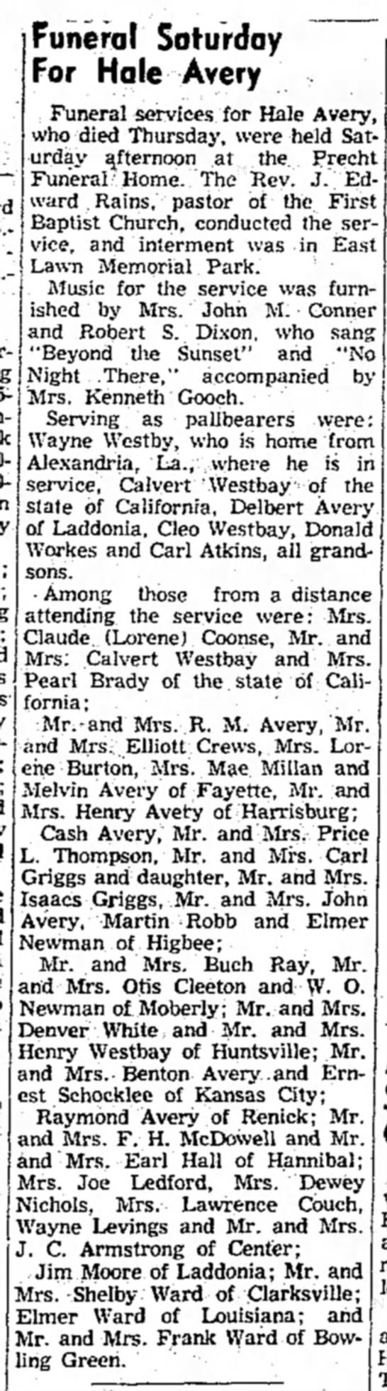 """""""Funeral Saturday For Hale Avery,"""" Mexico (Missouri) Ledger, 17 May 1954, p. 6, col. 3."""