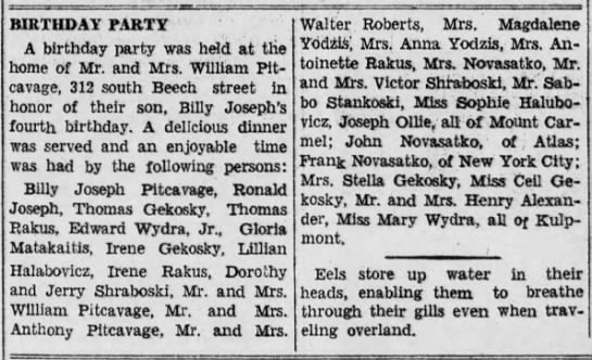 Billy Joseph Pitcavage birthday party list of guests 1941
