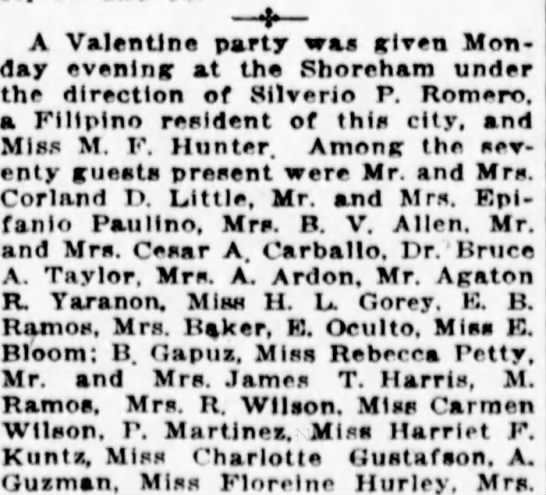 Rebecca was hanging out with Filipinos in 1921 when she was 18