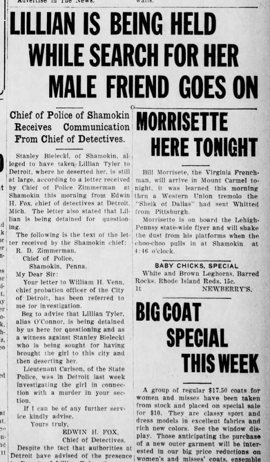 4 May 1925  The Daily News of Mount Carmel, PA