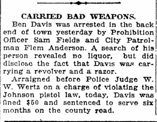 JOHNSON PISTOL LAW