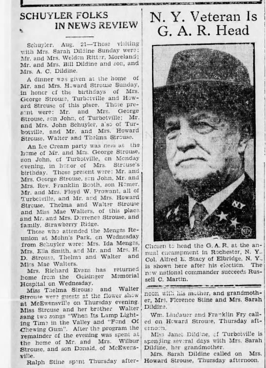 [Danville, PA] Morning news, 22 Aug 1934 (weds) p. 2 - Strouses of Schuyler