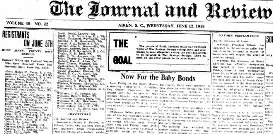 Chavous boys reaching 21 in 1918 - Aiken SC paper
