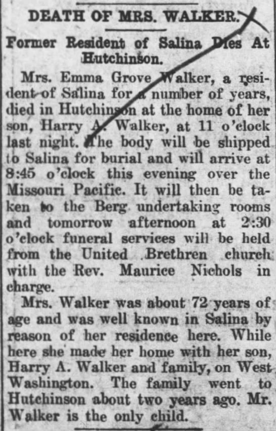 22 Feb 1915 Obituary Emma Grove Walker