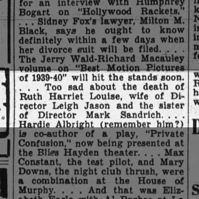 Ruth Harriet Louise's death.