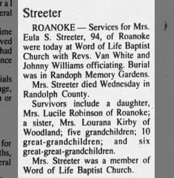 Eula Drucilla (nee) SHAW Mitchell Streeter obituary 11 Mar 1993 Thursday
