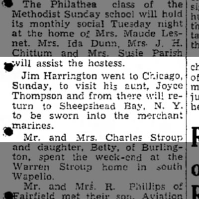 1943 Jim Harrington Merchant Marines Muscatine News Journal 11.3.1943