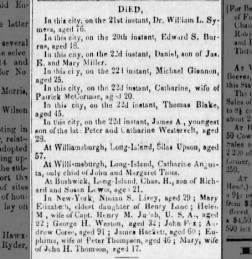 """Death Notice of Charles Henry Lewis in """"Brooklyn Evening Star"""" (D/O/D: November 1852)"""