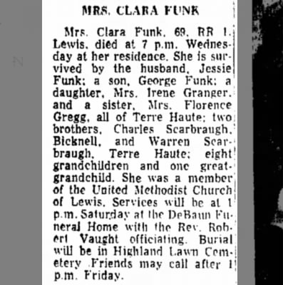 Mrs Jesse Funk Obituary