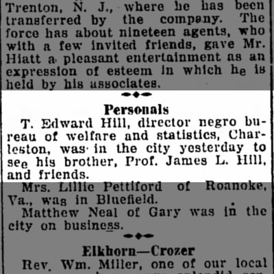 Feb 7, 1925 Bluefield Daily Telegraph - Personals