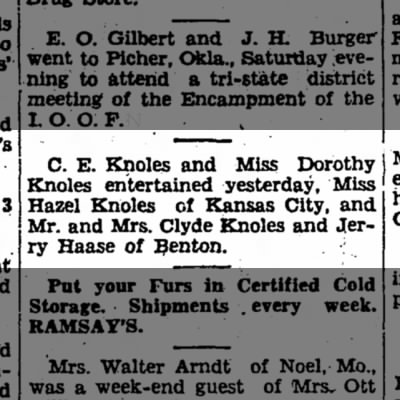 C.E. Knoles and other Knoles 12 May 1952 Kansas