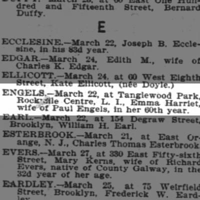 Emma Harriet Engels obituary New York Times March 29, 1903